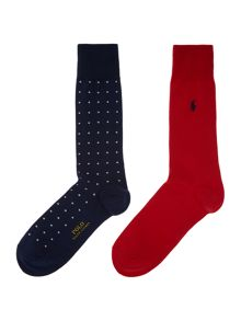 Polo Ralph Lauren 2 pack polka dot and plain sock set