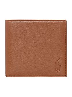 Billfold pebble leather wallet with coin pocket