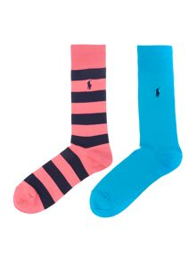 Polo Ralph Lauren 2 pack stripe and plain sock set