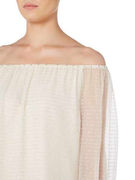 Biba Off the shoulder metallic top