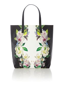 Lindsey black floral large tote bag