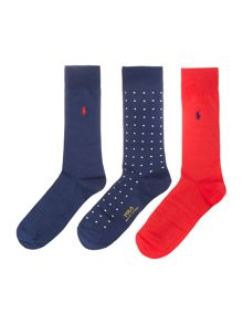 Polo Ralph Lauren 3 pack spot and plain sock set