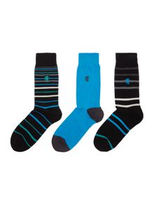 Pringle 3 pack of mixed stripe and plain sock