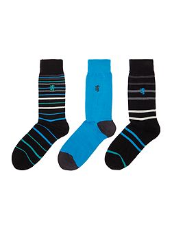 3 pack of mixed stripe and plain sock