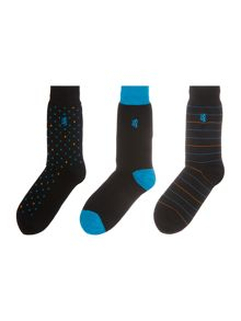 Pringle 3 pack of spot, stripe and plain sock