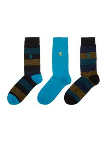 Pringle 3 pack of thin stripe and plain sock