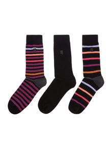 Pringle 3 pack of varied stripe and plain sock