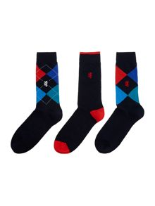 Pringle 3 pack of argyle and plain sock
