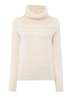 Textured Roll Neck Knitted Jumper