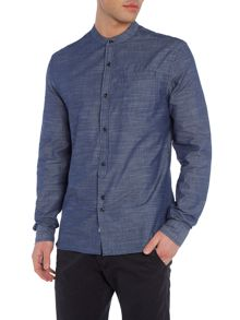Bellfield Paysans regular fit chambray grandad collar shirt