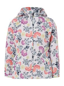 name it Girls Floral Print Long Jacket With Hood