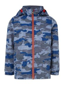 name it Boys Camo printed jacket with hood
