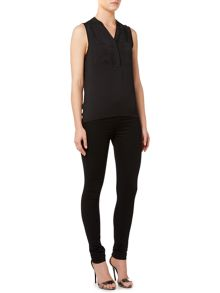 Sleeveless Button Front Pocket Blouse Top