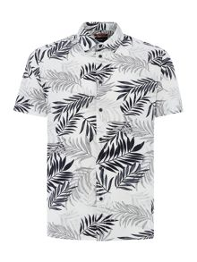 Criminal Simpson Leaf Print Short Sleeve Shirt