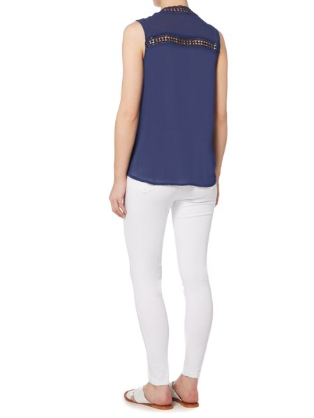 Linea Weekend Haven trim sleeveless blouse