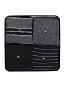 Tommy Hilfiger 4 pack of stripe and plain socks in a tin