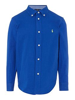 Boys Long Sleeve Shirt with gingham trims