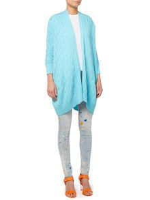Long sleeve cable knit cardigan