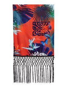 Biba Biba Tropical Print Rectangle with Tassels