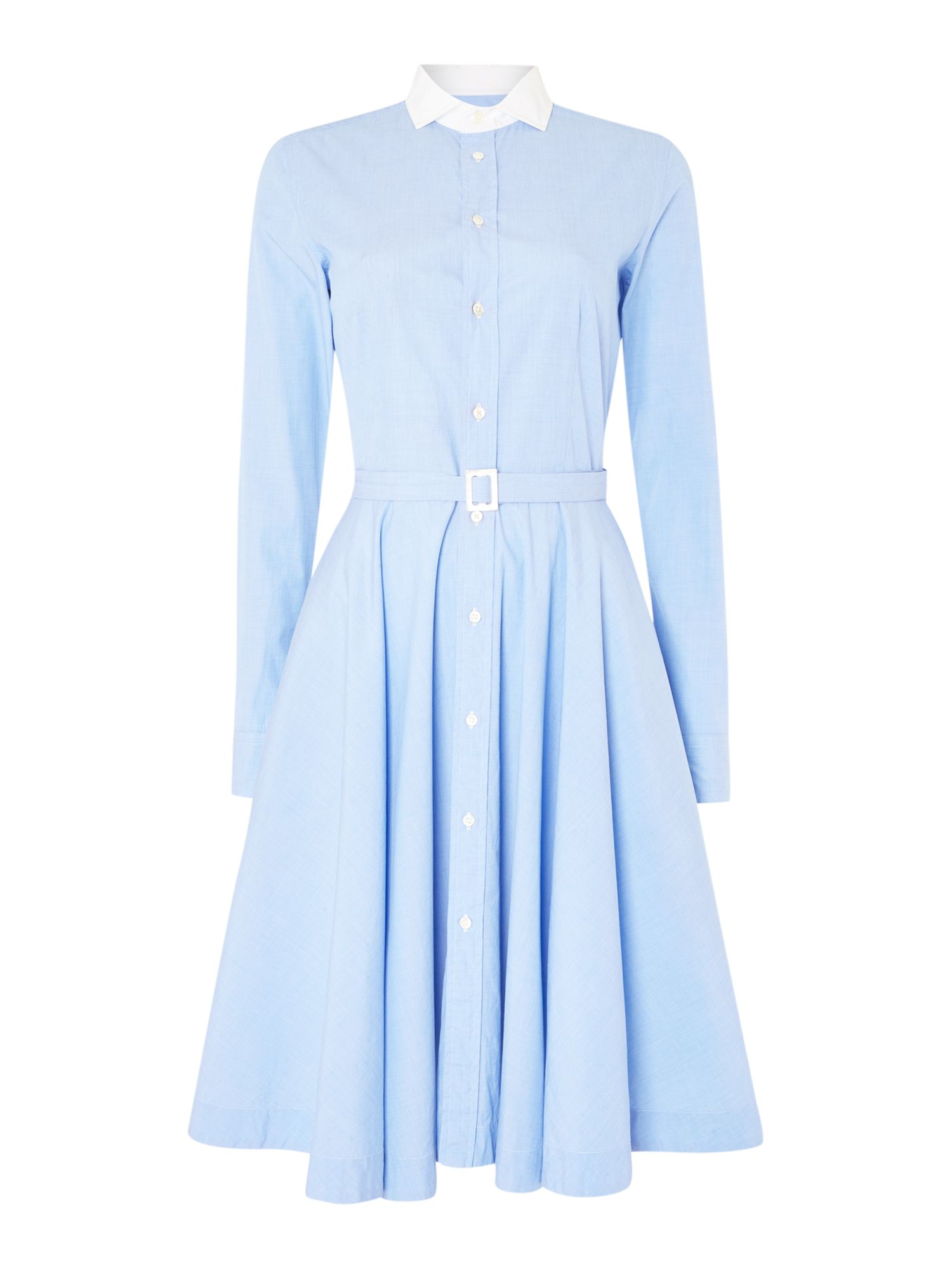 Polo Ralph Lauren Dori long sleeve shirt dress with white collar ...