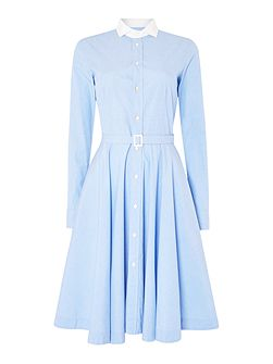 Dori long sleeve shirt dress with white collar