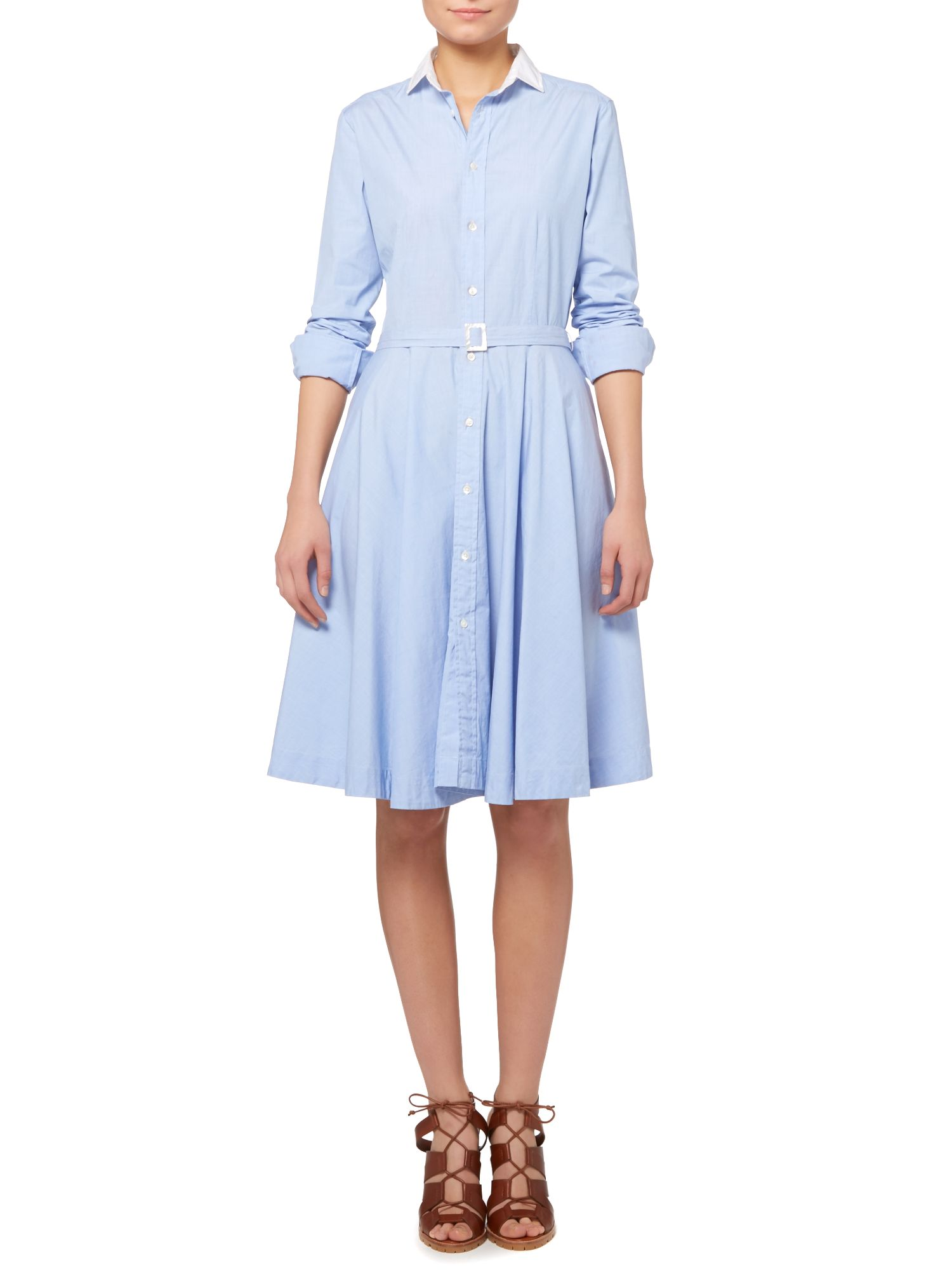 ... Polo Ralph Lauren Dori long sleeve shirt dress with white collar