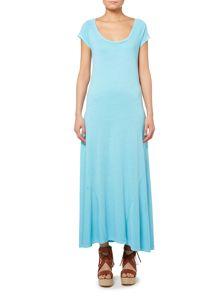 Short sleeve scoup neck maxi dress