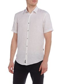 Hugo Boss Ronn Slim Fit Geo Linen Short Sleeve Shirt