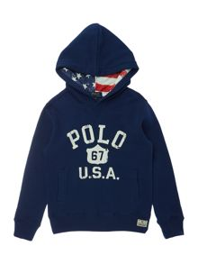 Boys Hooded Polo Graphic Sweater