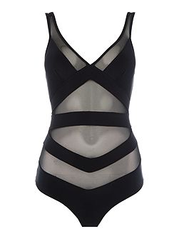 Illiana deep v mesh detail swimsuit