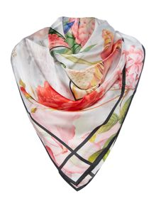 Ted Baker Rodie floral logo silk square scarf