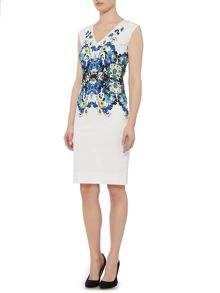 Linea Placement floral cotton sateen dress