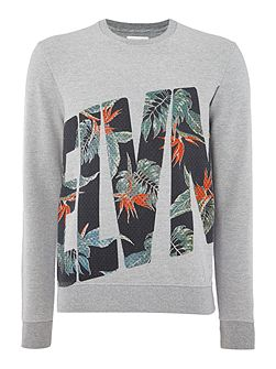 Regular fit floral logo print sweatshirt