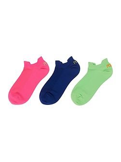 3 pack microfibre socks with embroidery