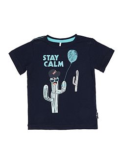 Boys Stay calm cactus graphic tee