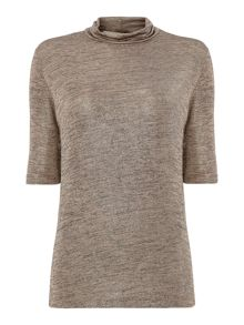 Biba Short sleeve metallic turtle neck