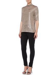 Short sleeve metallic turtle neck