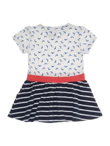 name it Girls Dolphin print and stripe dress