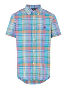Polo Ralph Lauren Boy`s Plaid Check Short Sleeve Shirt