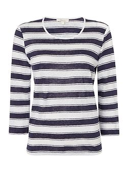 Stripe jersey top in 100% linen