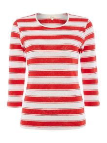 Linea Stripe jersey top in 100% linen