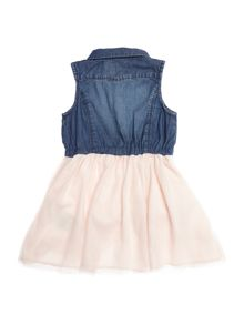 name it Girls Sleeveless denim and tulle skirt dress