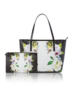 Livana black floral large tote bag