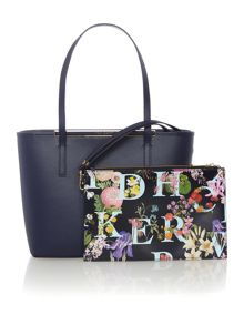 Ted Baker Leane navy small tote bag