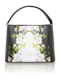 Baila black floral small tote bag