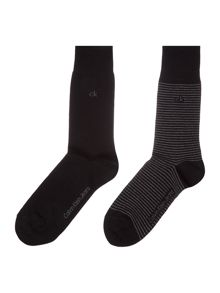 Calvin Klein 2 pack of fine stripe and plain socks