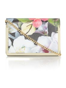 Ted Baker Mila black floral small flap over cross body bag