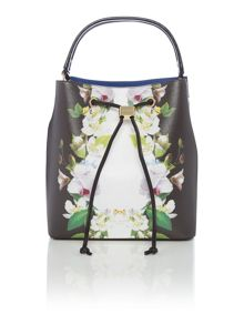 Ted Baker Bethal black floral bucket bag