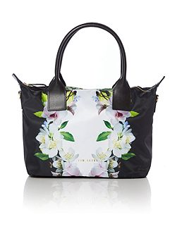 Mariana black floral small tote bag