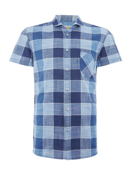 Hugo Boss Ezippoe regular fit bold check short sleeve shirt